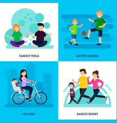 Colorful sport family square composition vector