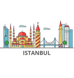 istanbul city skyline buildings streets vector image