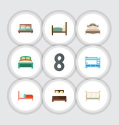 Flat bed set of bedroom hostel cot and other vector