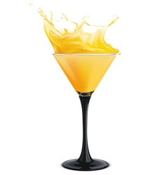 Orange cocktail with splashes vector