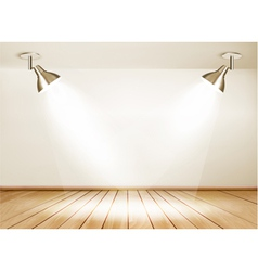 Showroom with wooden floor and two lights vector image