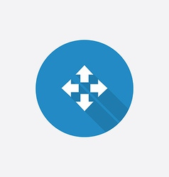 Move flat blue simple icon with long shadow vector