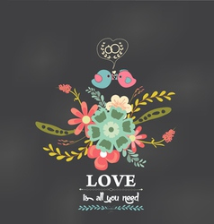 Valentines day romantic floral and bird greeting vector