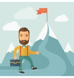 The man climbing the mountain of success vector