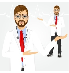 Male hipster doctor showing something vector