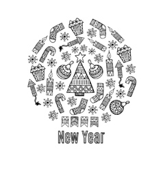 New year sketch in a circle design vector