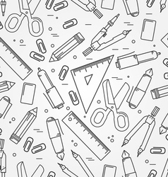Seamless school office supplies pattern thin line vector