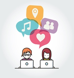 Social media chat people with computers vector