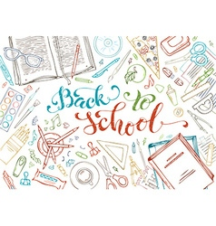 Back to school outlined decorative concept vector