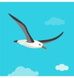 Albatross bird is flying in cloudy sky vector