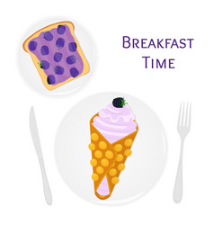 Belgian chinese waffle with cream berries toast vector
