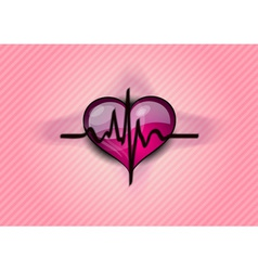black cardiogram on the heart vector image vector image