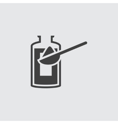 Bottle and spoon icon vector