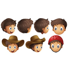 Boy heads vector image vector image