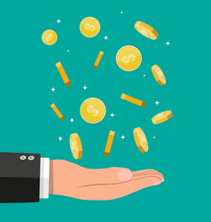 buisnessman hand catching falling gold coins vector image vector image