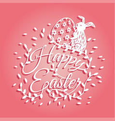 Bunny and flowers for easter day greeting card vector