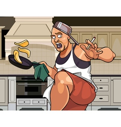 Cartoon funny man cook actively fries pancakes vector