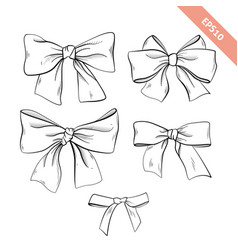 collection black line bow sketch style vector image
