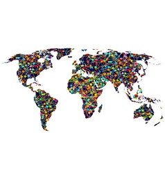Colored network World map vector image
