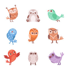 Cute cartoon owls set lovely colorful owlets vector