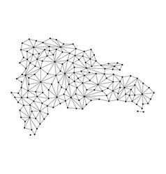 Dominican republic map of polygonal mosaic lines vector