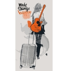 Fashion girls with suitcases and guitar vector