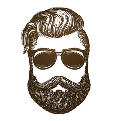 hand drawn portrait of man with beard hipster vector image vector image