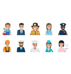 happy representatives of different professions set vector image vector image
