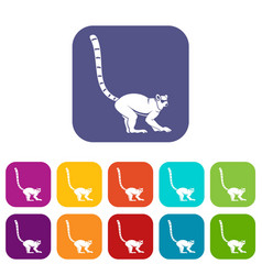 Lemur monkey icons set flat vector