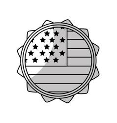 line emblem with flag of usa inside vector image vector image