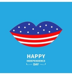 Lips with star and strip Blue backgraund Happy vector image vector image