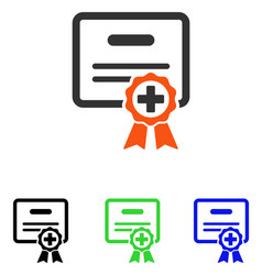 Medical certificate flat icon vector