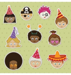 party kids stickers vector image