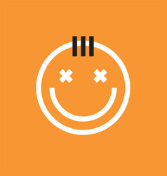 Smiling face icon with forelock smiley emoji vector