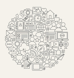 Social media line icons circle vector