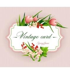 Spring vintage elegant card with flowers vector