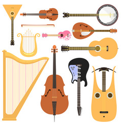 Stringed musical instruments set classical vector