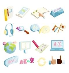 Translator symbols icons set cartoon style vector image vector image