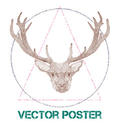 vintage poster with deer vector image