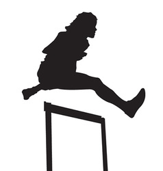 Woman hurdling vector