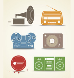 Digital and analogue music players icons vector