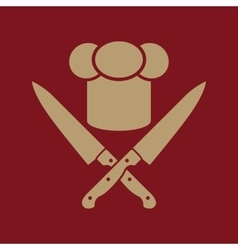 The chef hat and crossed knives icon Cook vector image
