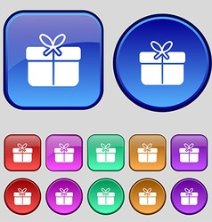 Gift box icon sign A set of twelve vintage buttons vector image