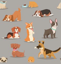 Different dogs breed cute puppy characters vector
