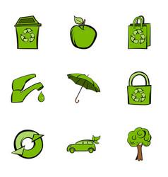 Ecology icons set cartoon style vector