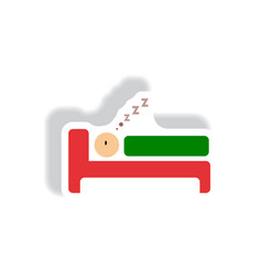 stylish icon in paper sticker style man sleeps vector image