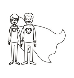 Silhouette cartoon full body couple super hero vector