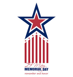 Memorial day card 2017 29 may remember and honor vector