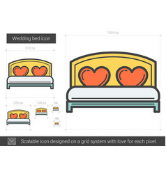 Wedding bed line icon vector