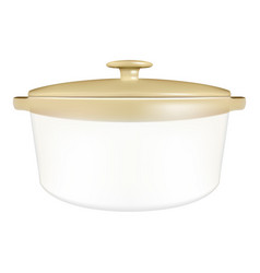 White saucepan with a lid isolated on a white vector